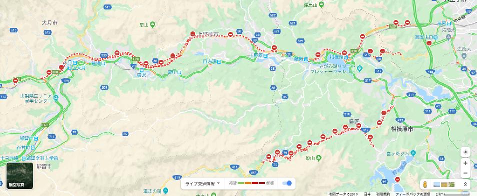 中央道通行止めGoogleマップ